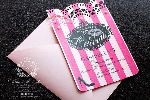 Victoria Secret Invitation, Quinceanera Invitation, Sweet Sixteen SET OF 10