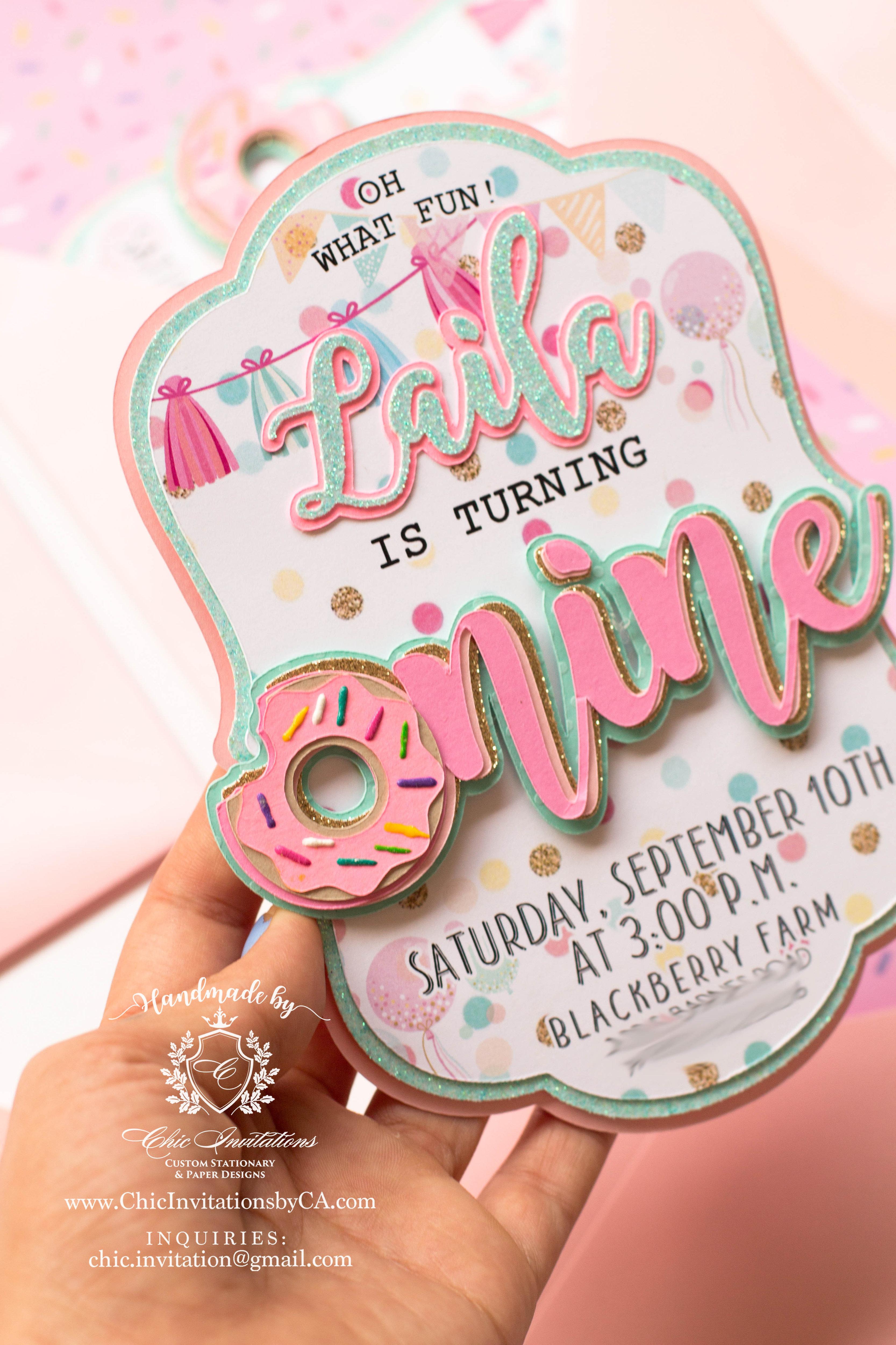 donut invitation handmade invitation donut party first