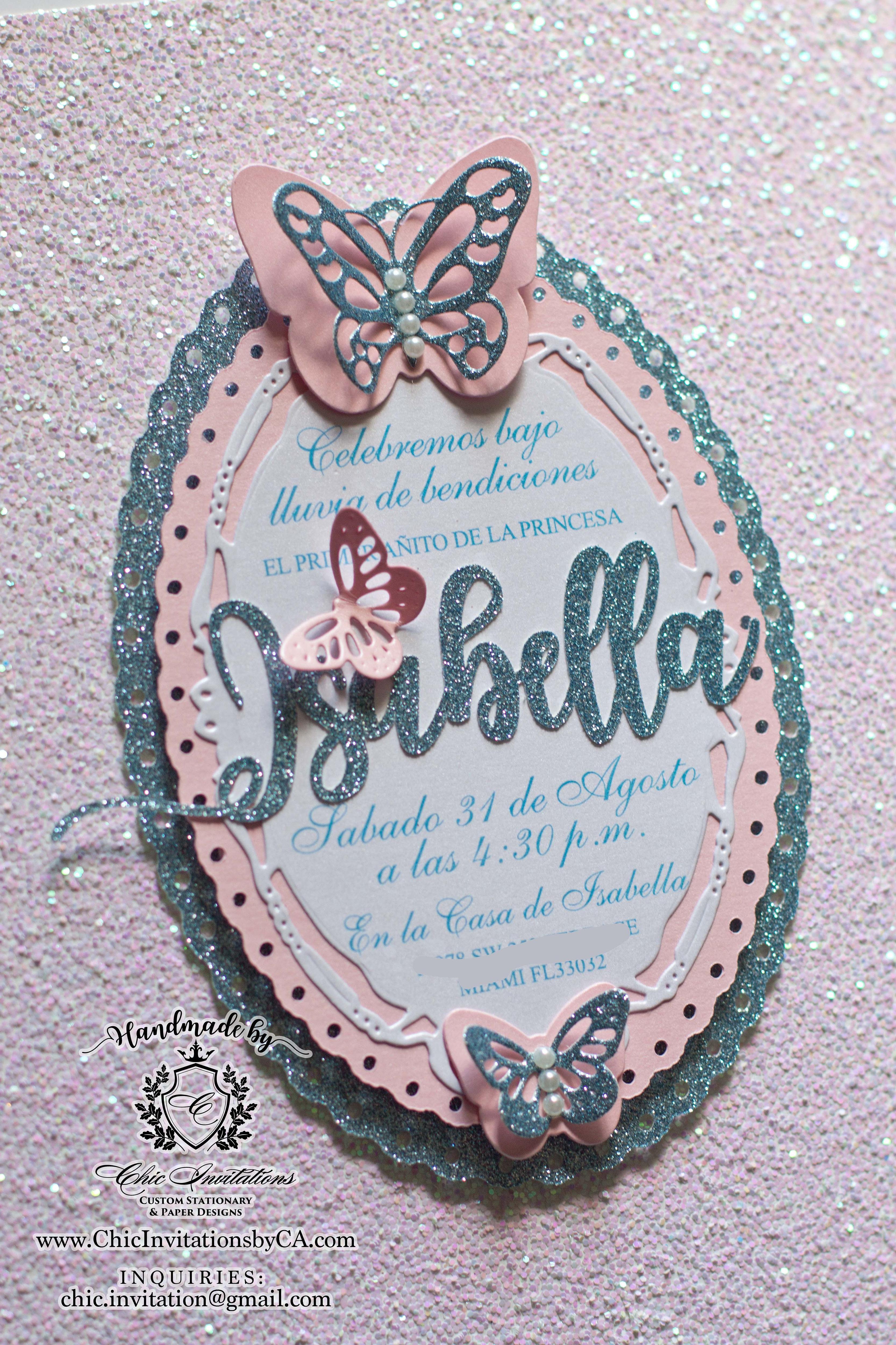 Butterfly Handmade Invitation Baby Shower Invitation Birthday Girl Invitation