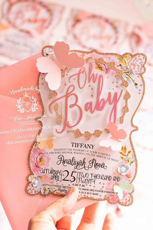 Butterfly invitation, handmade butterfly invite, oh baby invitation, baby shower