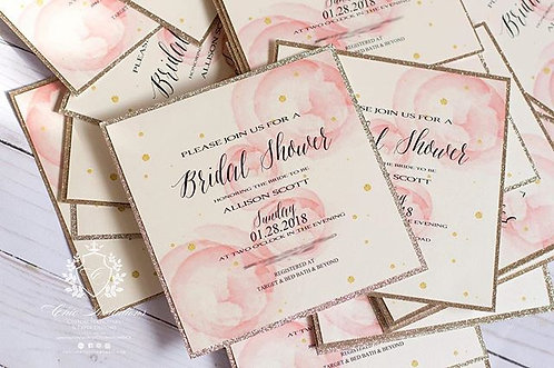 Bridal Shower Invitation, Wedding Shower Invitation, SET OF 10 INVITATIONS