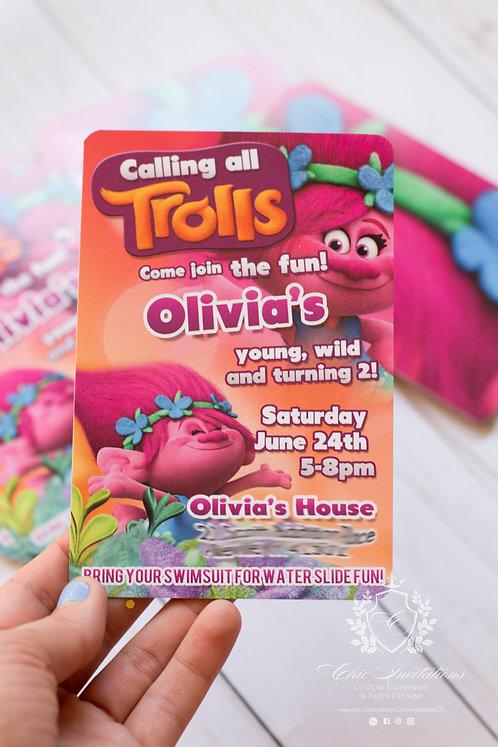 Poppy invitation, custom trolls invitation, birthday trolls invite, SET OF 50