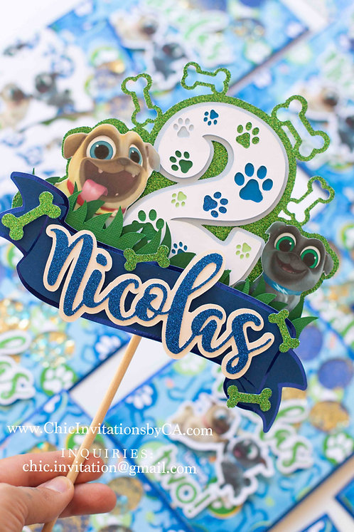 Puppy Dog Pals cake topper, handmade cake topper, custom cake topper, any age