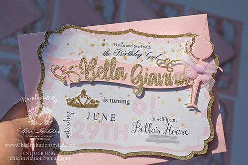 Ballerina handmade invitation, pink and gold ballerina invitation, handmade