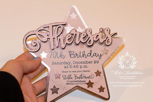 Star Invitation, sweet sixteen invitation, handmade invitation, star shape card