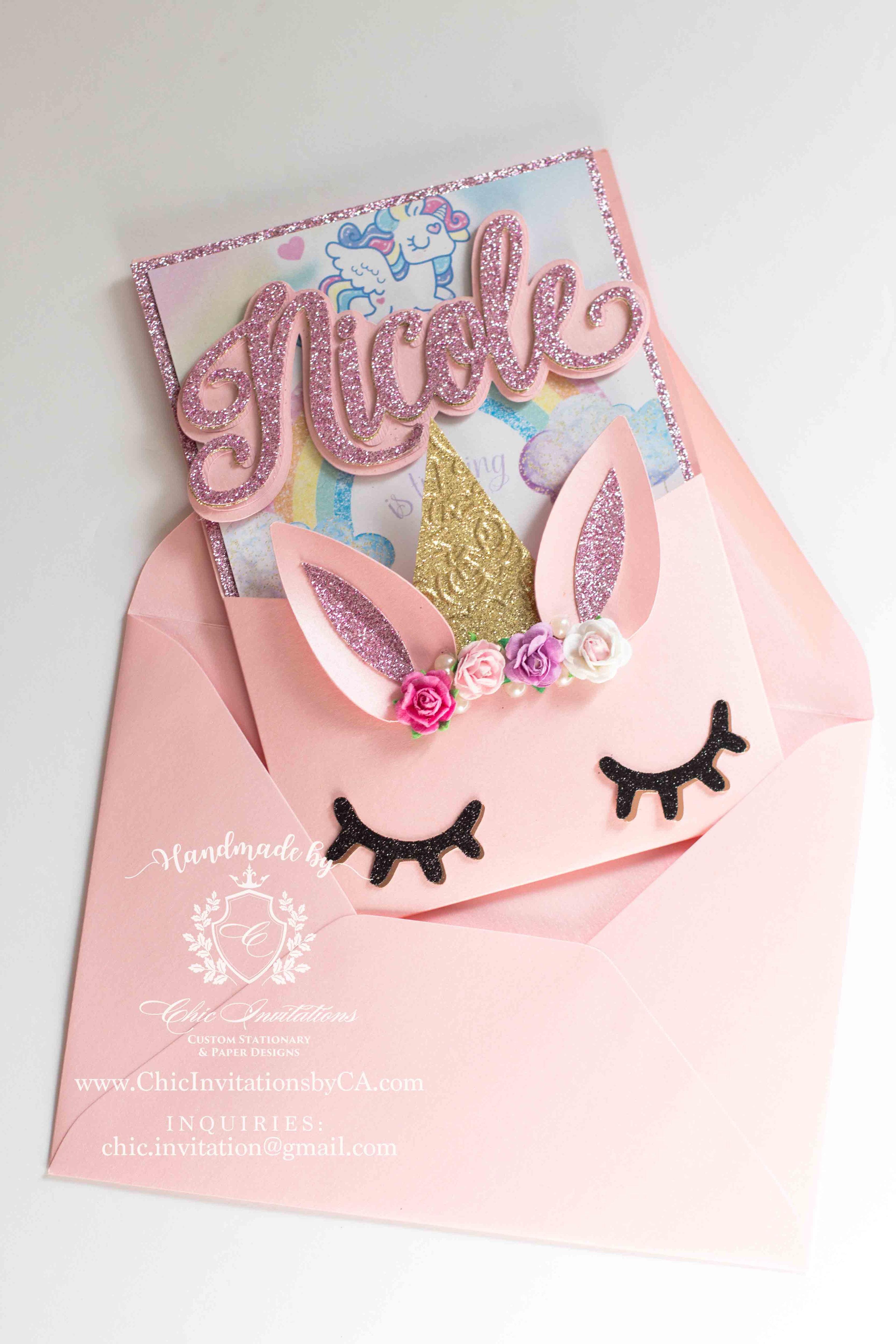 unicorn handmade invitation custom unicorn invitation