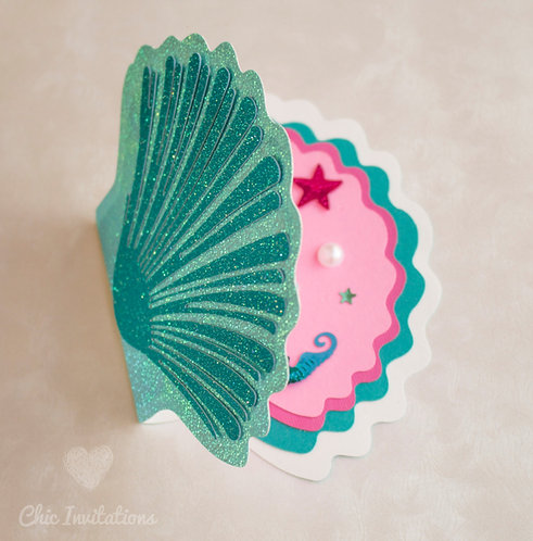 Mermaid Invitation, Shell 3d, Shell Handmade Invitation, sea shell handmade