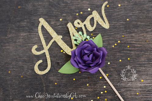 Custom Cake Topper, Custom Name Cake Topper, Birthday Cupcake Topper, floral top