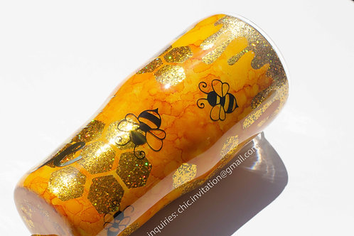 Bee tumbler, glitter tumbler, custom, dog gift ideas, drinkware