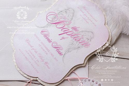 Baptism invitations, baby shower girl, handmade invitation, baptism girl invite