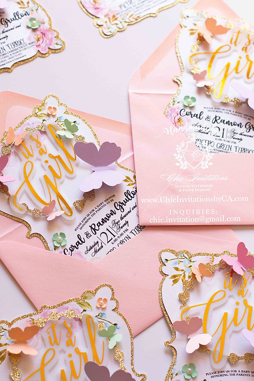 Handmade butterfly invitations, baby shower invitations, spring floral