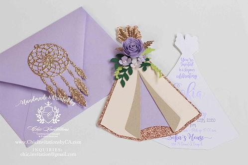 sleepover handmade invitation, pijama invitation, teepee, boho chic, floral