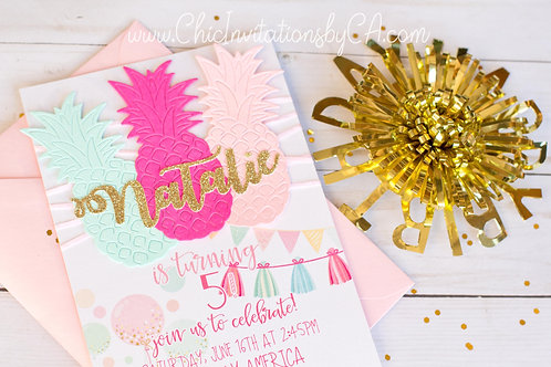Luau Invitation, tropical invitation, handmade invitation, Pineapple SET OF 5