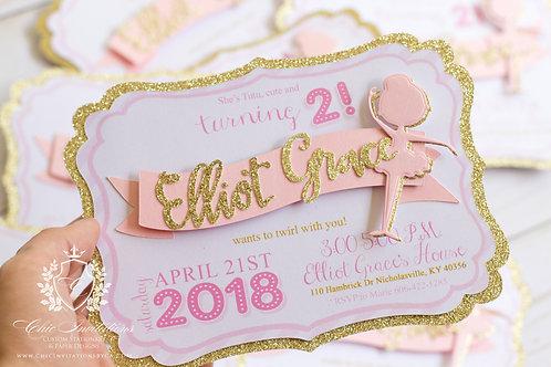 Ballerina Invitations, 3D Ballerina Invitation, Handmade, SET OF 5 INVITATIONS