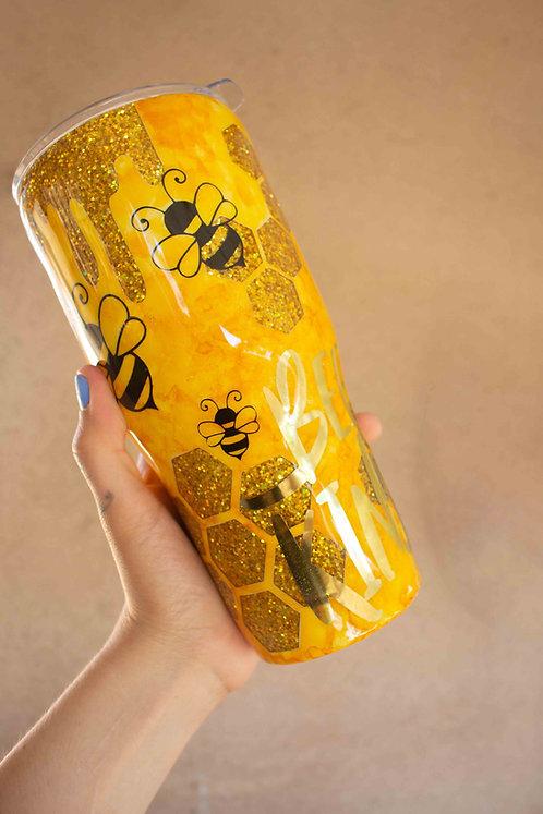 bee kind handmade tumbler, custom gift, bee tumbler, glitter tumbler