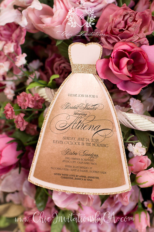 Bridal Shower invitation, dress shape invitation, handmade invitation,Quince