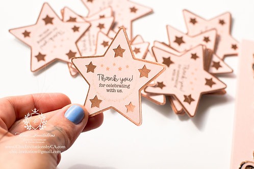Star shape tags, thank you tags, handmade tags, blush tags