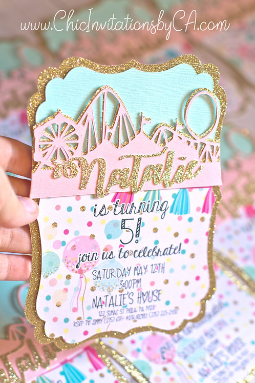 Amusement Park Invitation, Roller Coaster, 3D SET OF 5 INVITATIONS