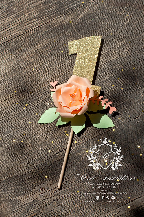 Cake topper, floral cake topper, any Age\Number
