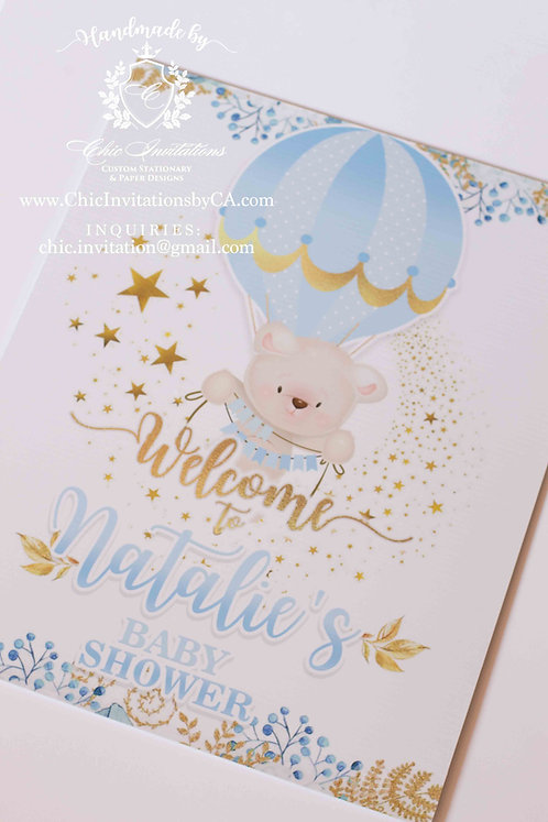 Welcome baby shower sign, custom sign 16''x20''