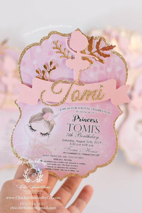 Ballerina Handmade invitation, tutu handmade, birthday invitation, ballet