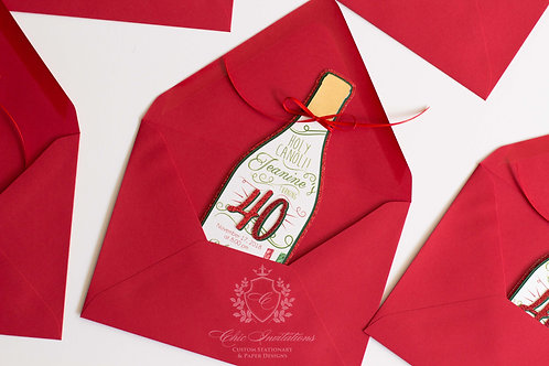 Wine Invitation, Italy Invitation, Handmade Wine Shape Invitation, 40 Birthday