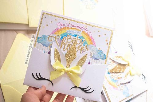 Unicorn handmade invitation, custom baby shower invitation, gender reveal