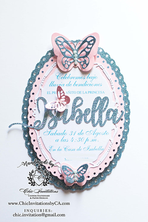 Butterfly handmade invitation, baby shower invitation, birthday girl invitation