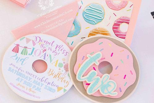 donut handmade invitation, custom handmade invitation, donut grow up