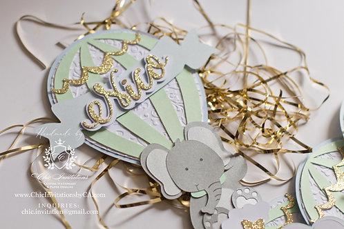 Elephant Handmade Invitation, Baby shower invitation, hot air balloon