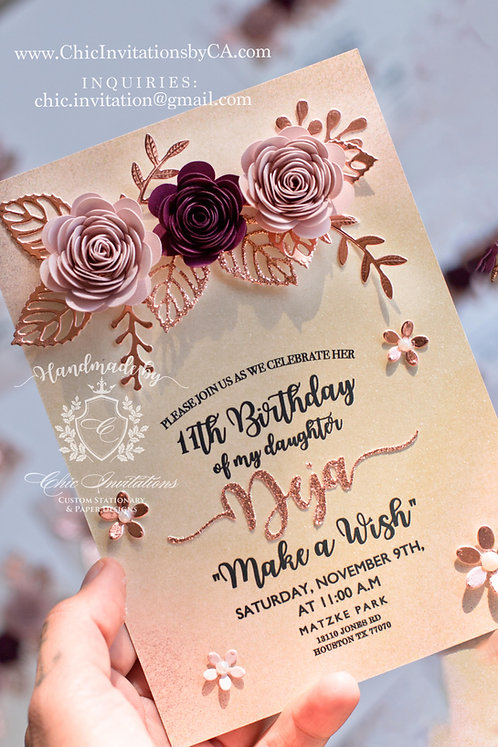 Flowers handmade invitation, flower wreath blush, quinceanera invite