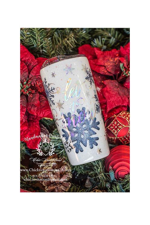 snow tumbler, let it snow tumbler, handmade gift, christmas gift