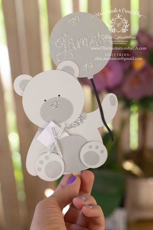 teddy bear invitation, baby shower invitation, handmade teddy bear invitation