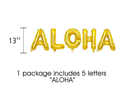 Gold ALOHA Letter Balloons Set for Luau Decorations | Hawaiian Party Decoration