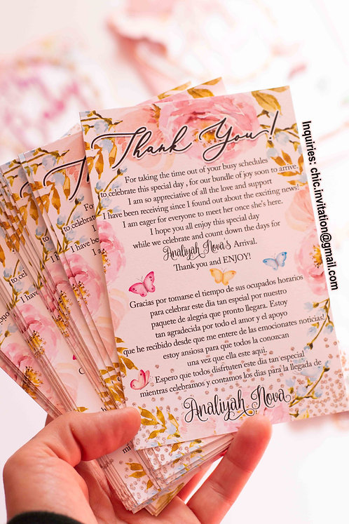 thank you cards, floral thank you cards, spring, butterfly card, inserts
