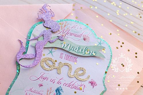 Mermaid Invitation, Sea Invitations, 3D Invitation, SET OF 5 INVITATIONS