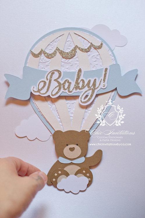 Teddy bear invitation, hot air balloon invitation, handmade baby shower