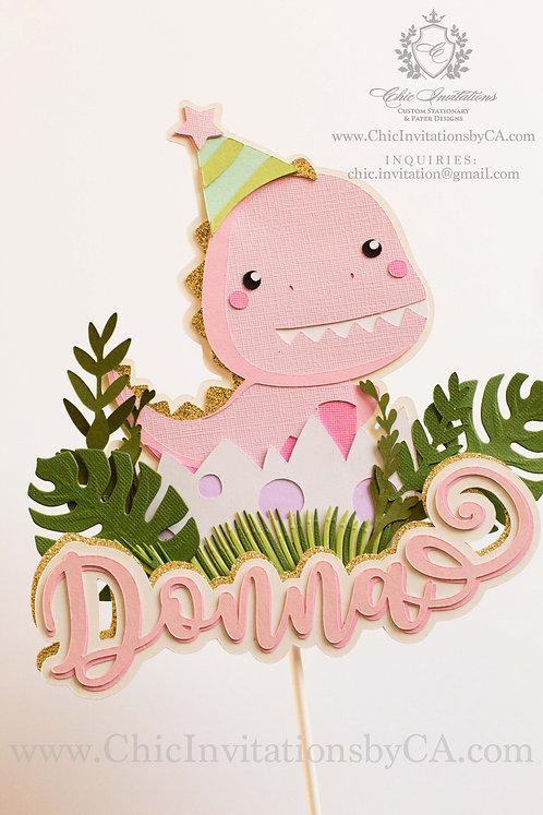 Dinosaur cake topper, handmade birthday girl cake topper, custom cake topper