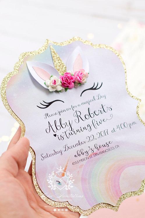 Unicorn Invitation, Magical Invitation, 3D Unicorn Card, Handmade unicorn invite