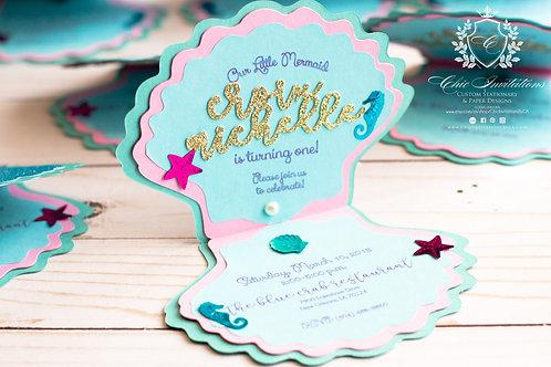 Mermaid Invitation, Handmade Mermaid Invitation, 3D Mermaid, Shell Handmade