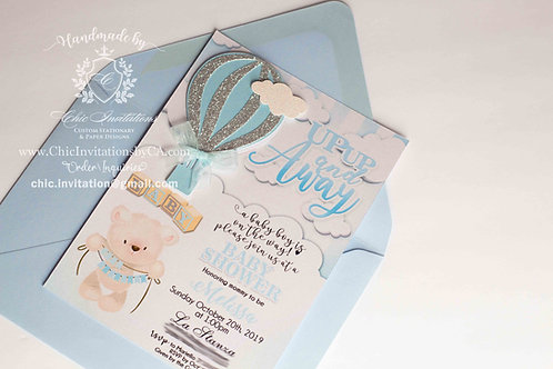 Hot air balloon invitation, baby shower invitation, handmade invitation,
