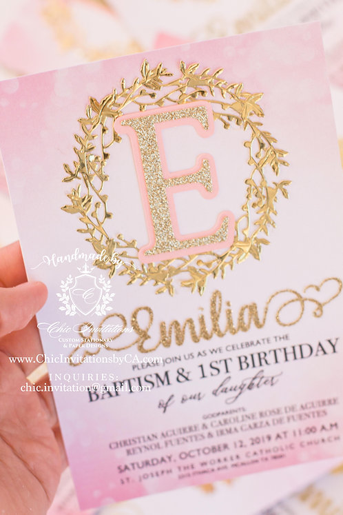 Initials handmade invitation, gold and pink baby shower invitation, baptism