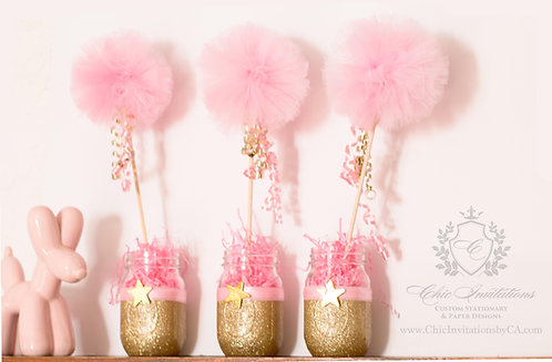 Unicorn Centerpieces, Party decoration, mason jar centerpieces, gold and pink