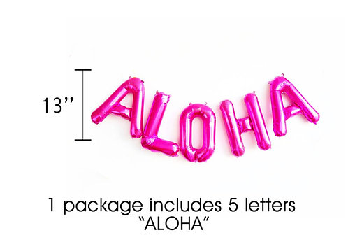 Pink ALOHA Letter Balloons Set for Luau Decorations | Hawaiian Party Decoration