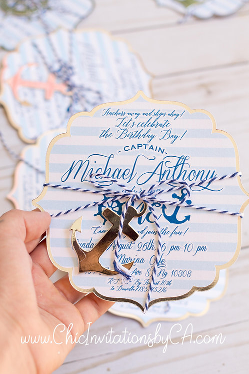 Nautical Handmade invitation, Baby shower Nautical theme, anchor and wheel