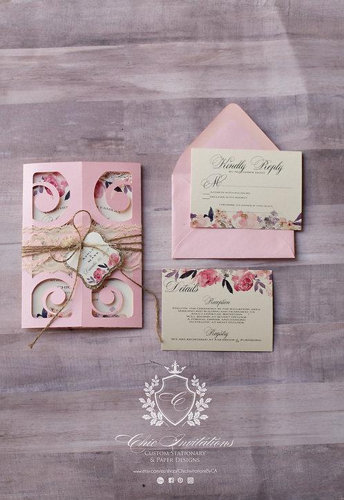 Wedding Invitation, blush handmade wedding invitation, laser style