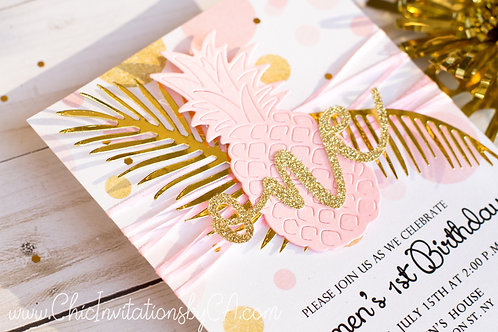 Luau Invitation, tropical invitation, handmade invitation, Pineapple Invitation