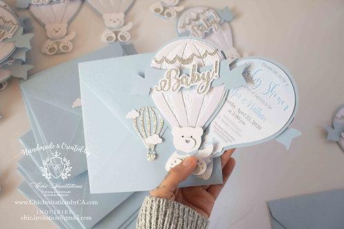teddy bear hot air balloon invitation, baby shower handmade teddy invitation