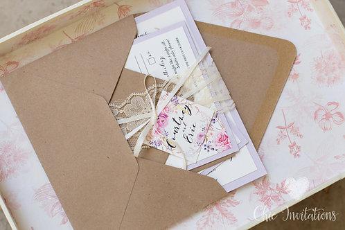Wedding invitations, vintage invitation, lace wedding invitation, floral invite