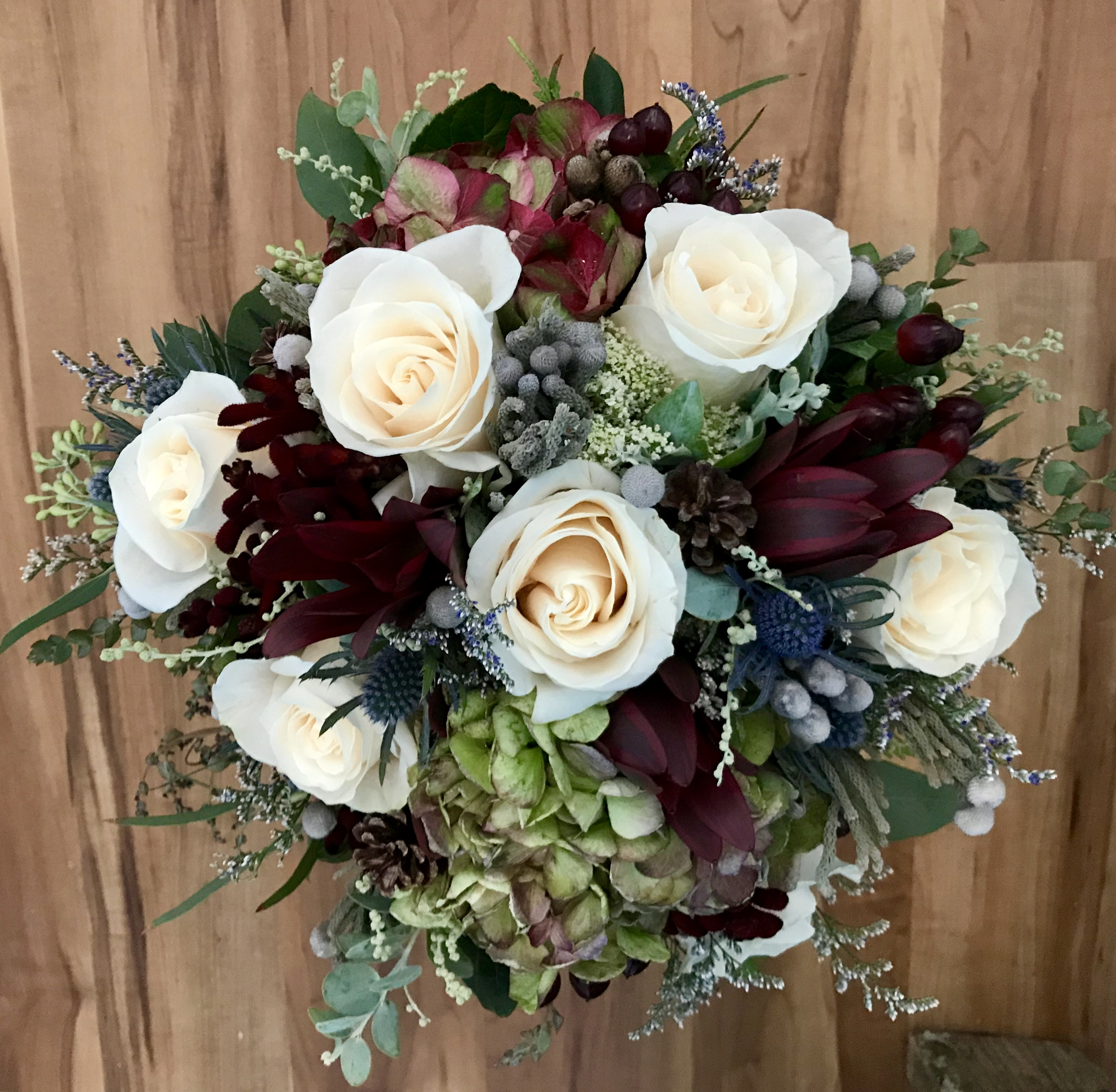 Hydrangea, Brunia silver, & Roses with fine accents